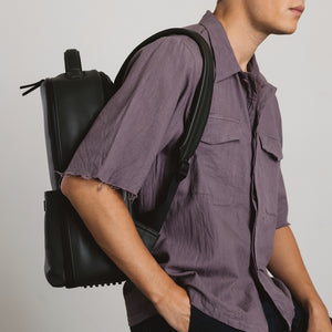 Stylish camera backpack black vegan leather by No More Ugly
