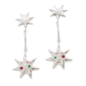 Starlight Star Drop Earrings Silver