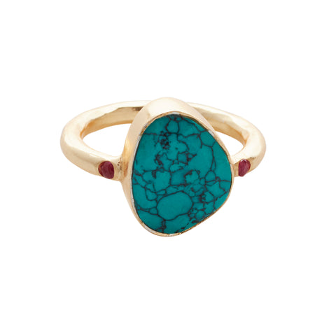 Starlight Cocktail Ring Gold Turquoise