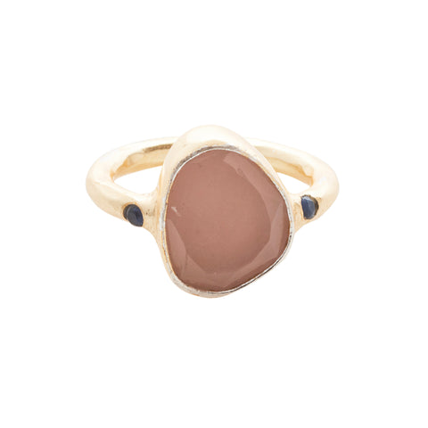Starlight Cocktail Ring Gold Rose Quartz