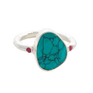 Starlight Cocktail Ring Silver Turquoise
