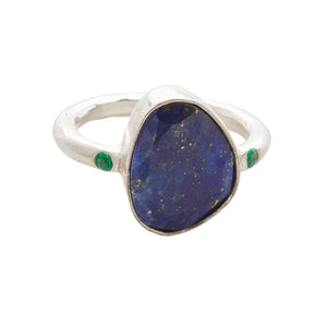 Starlight Cocktail Ring Silver Lapis