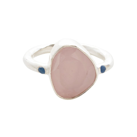 Starlight Cocktail Ring Silver Rose Quartz