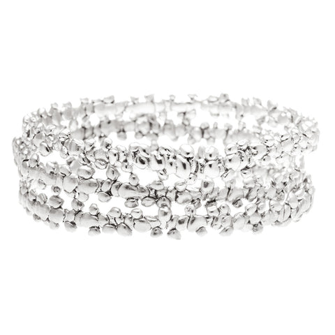 Fine Confetti Bangle Silver (stack of 3)