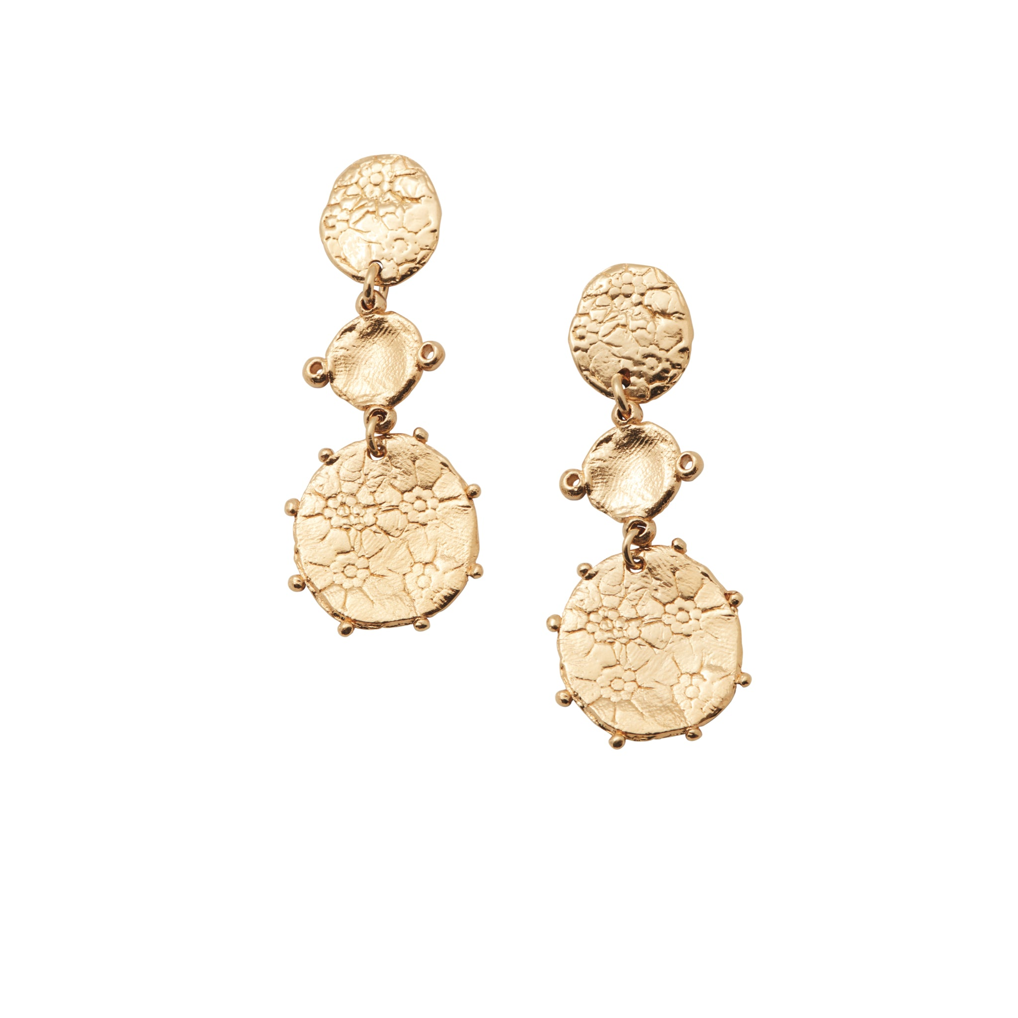 Floral Drop Earrings Gold