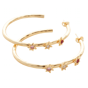Starlight Red Trio Star Hoop Earrings Gold