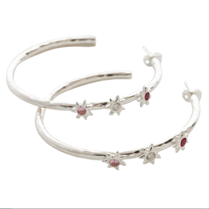 Starlight Red Trio Star Hoop Earring Silver