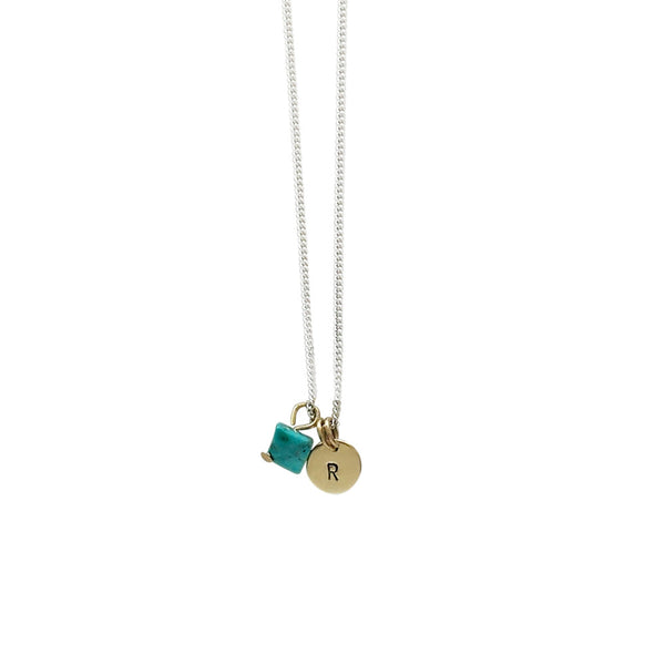 Health + Protection (Turquoise) Initial Necklace - Silver/Gold