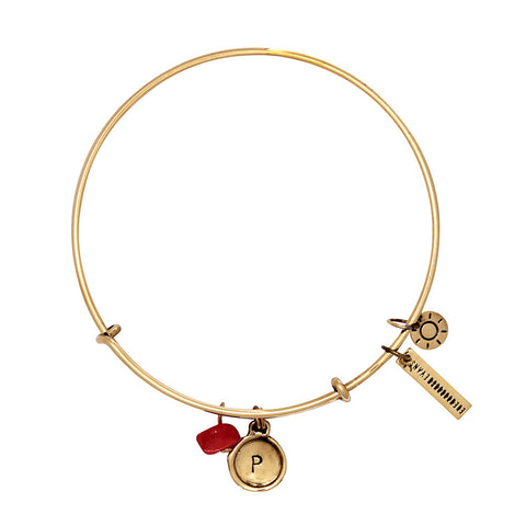 Peace + Happiness (Coral) Alphabet Bangle - Gold
