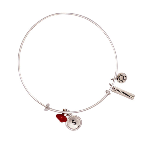 Peace + Happiness (Coral) Alphabet Bangle - Silver