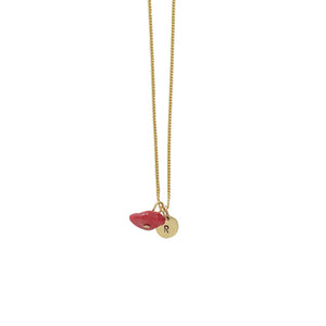 Peace + Happiness (Coral) Initial Necklace - Gold