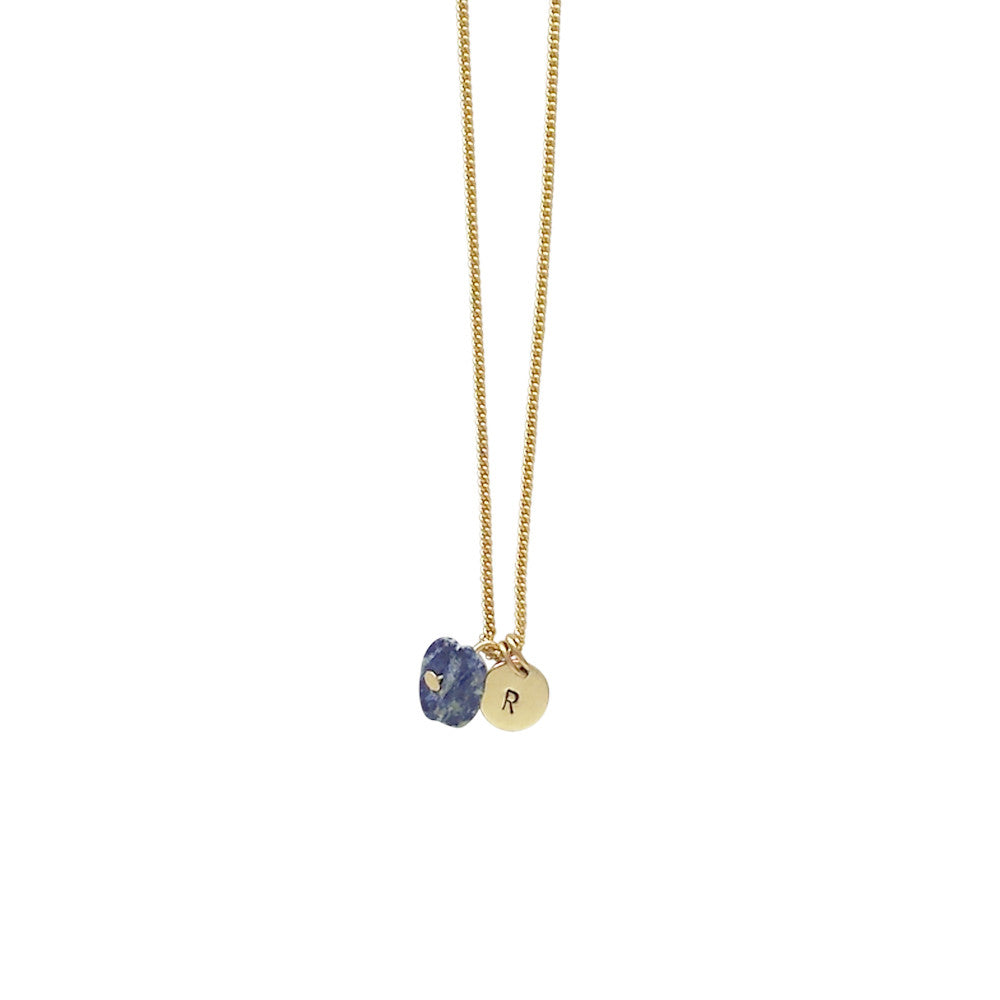 Friendship (Lapis Lazuli) Initial Necklace - Gold