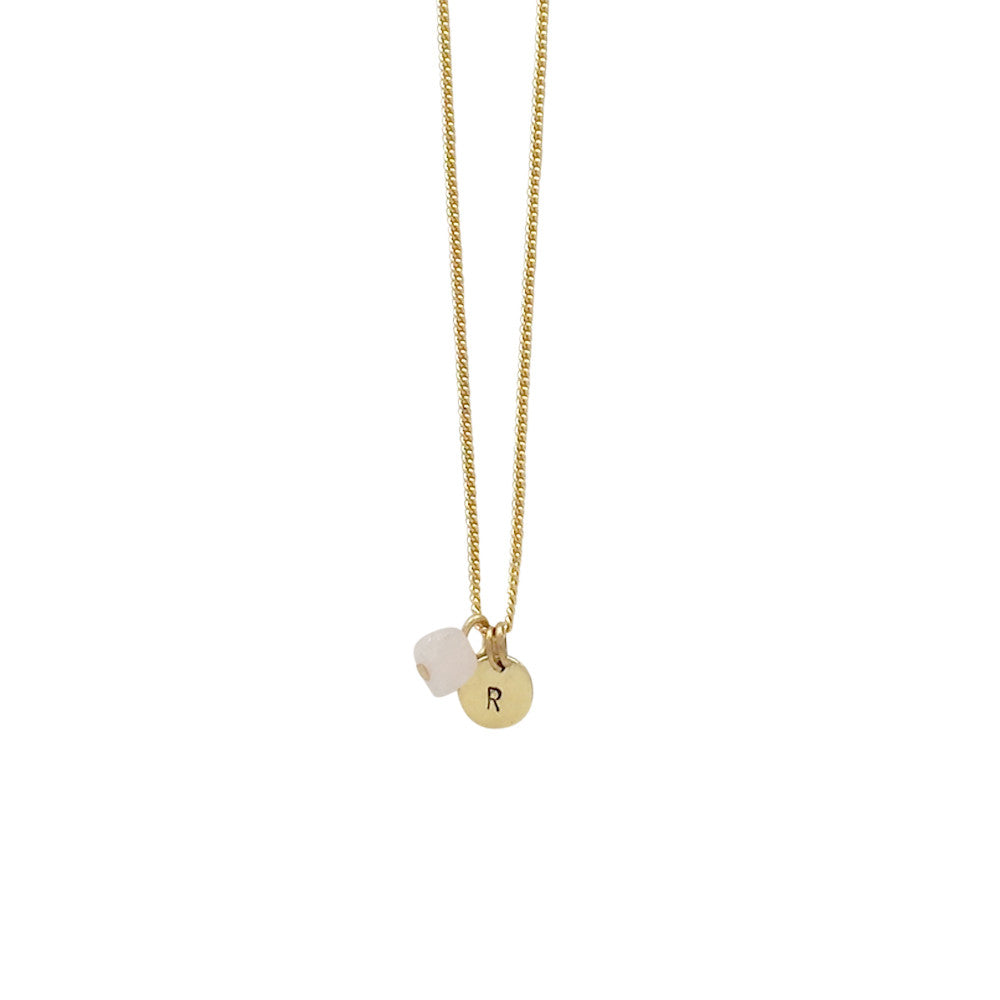 Love + Luck (Rose Quartz) Initial Necklace - Gold