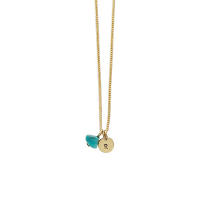 Health + Protection (Turquoise) Initial Necklace - Gold