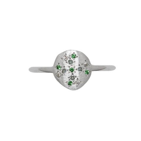 Starlight Multi Stone Fine Ring Silver Green
