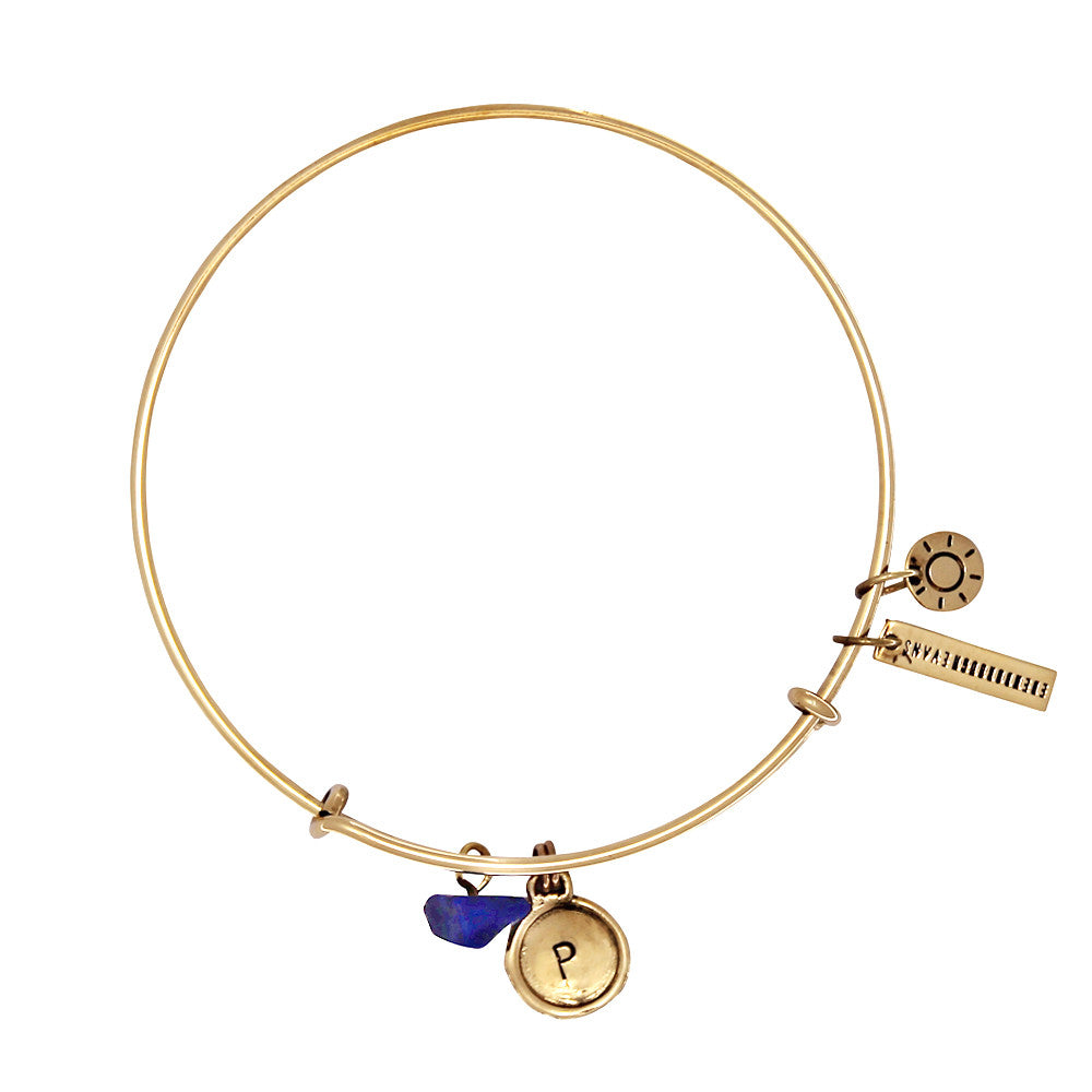 Friendship (Lapis Lazuli) Alphabet Bangle - Gold