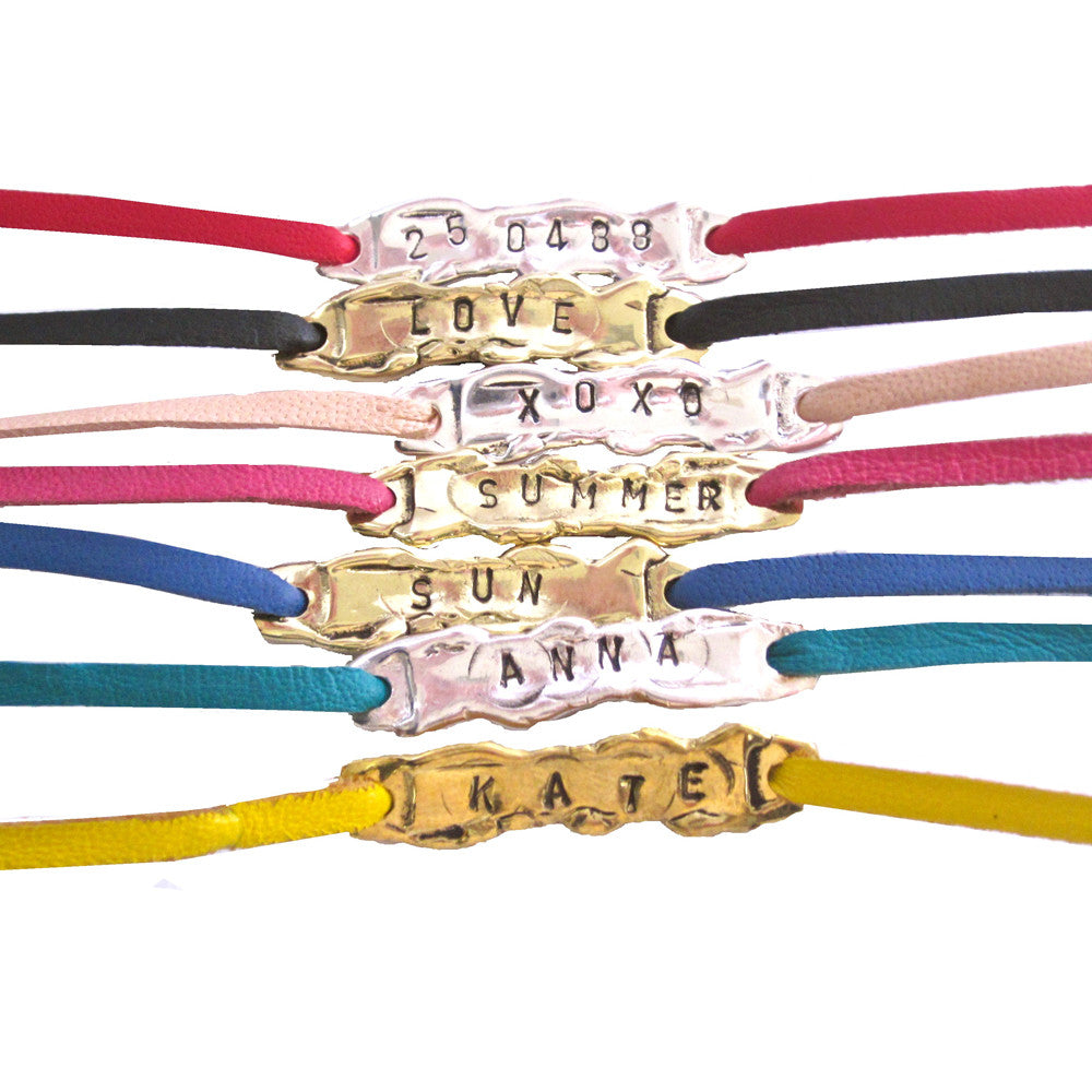 Personalised Bracelet - Leather and Gold