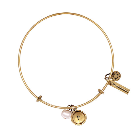Love + Luck (Rose Quartz) Alphabet Bangle - Gold