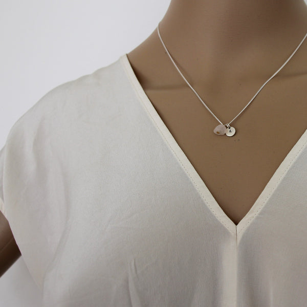 Love + Luck (Rose Quartz) Initial Necklace - Silver
