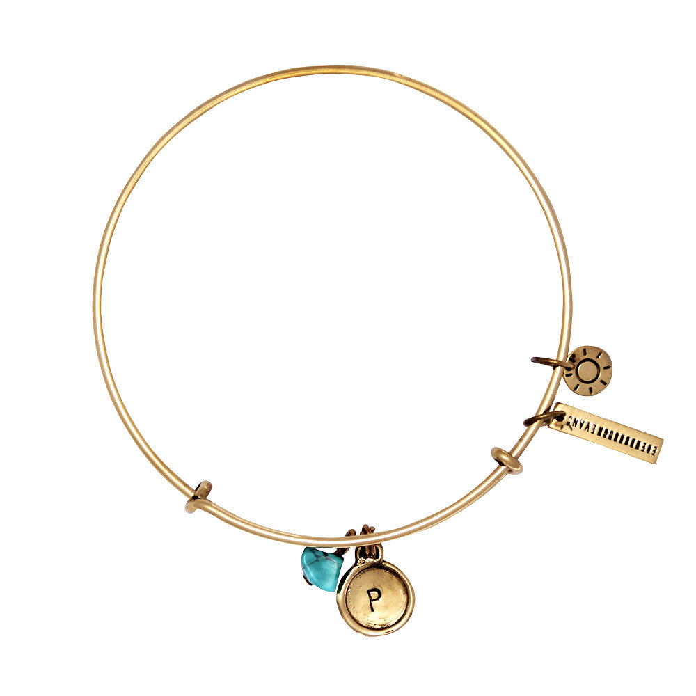 Health + Protection (Turquoise) Alphabet Bangle - Gold