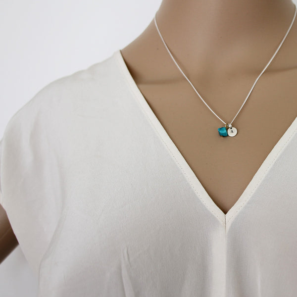 Health + Protection (Turquoise) Initial Necklace - Silver