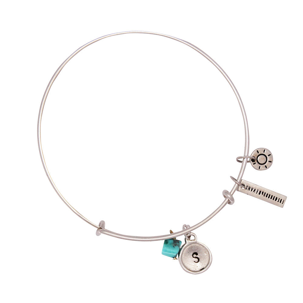 Health + Protection (Turquoise) Alphabet Bangle - Silver