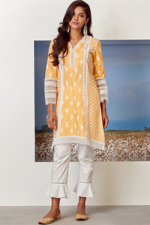 Mulmul Cotton ARMADA KURTA With UMBRELLA FRILL PANT