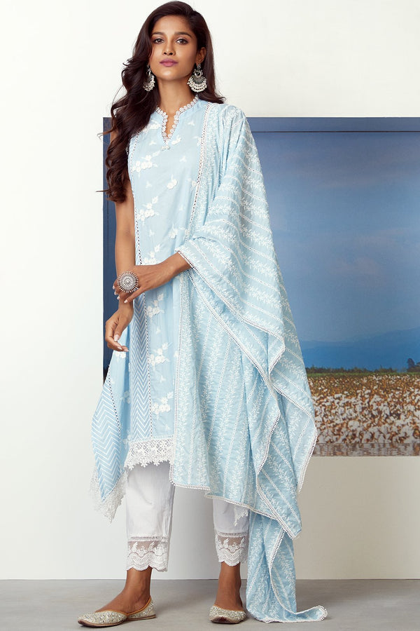 Mulmul Cotton GLORY KURTA With FLORAL ORGANZA PANT