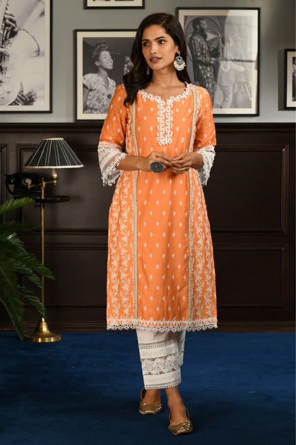 PIMA SATIN MERRY KURTA With NEW PINKTUCK PANT
