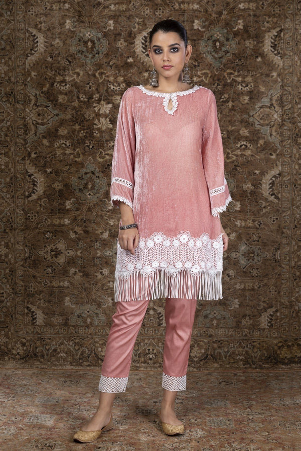 Makhmal Fern Kurta with Pyajama