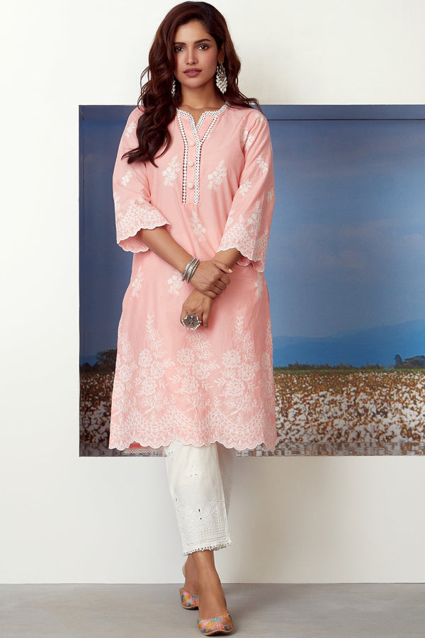 Mulmul Cotton Moon Light Kurta With Emb Eyelet Pant