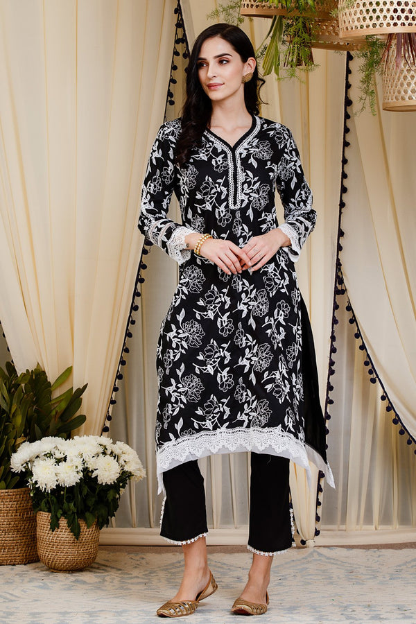 Mulmul Cotton Bianca Kurta  With Slit Pants