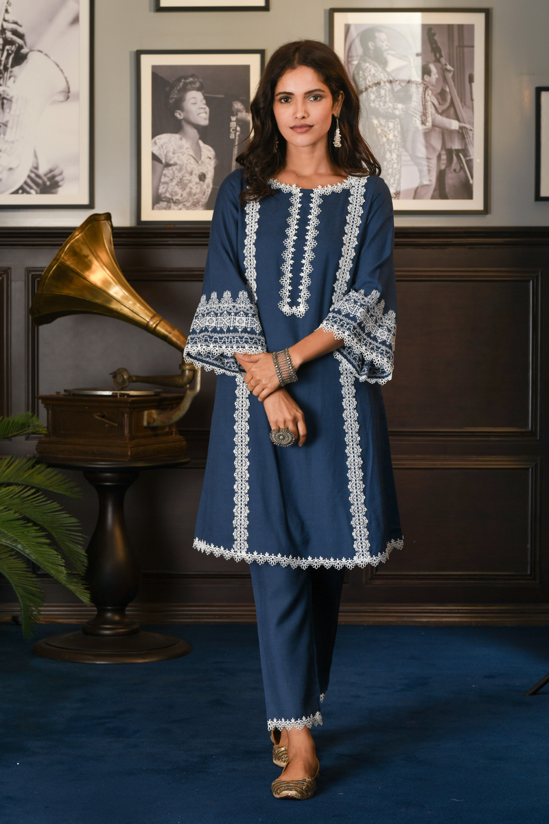 Mulmul Wool blend NIEVA KURTA With NIEVA PANT