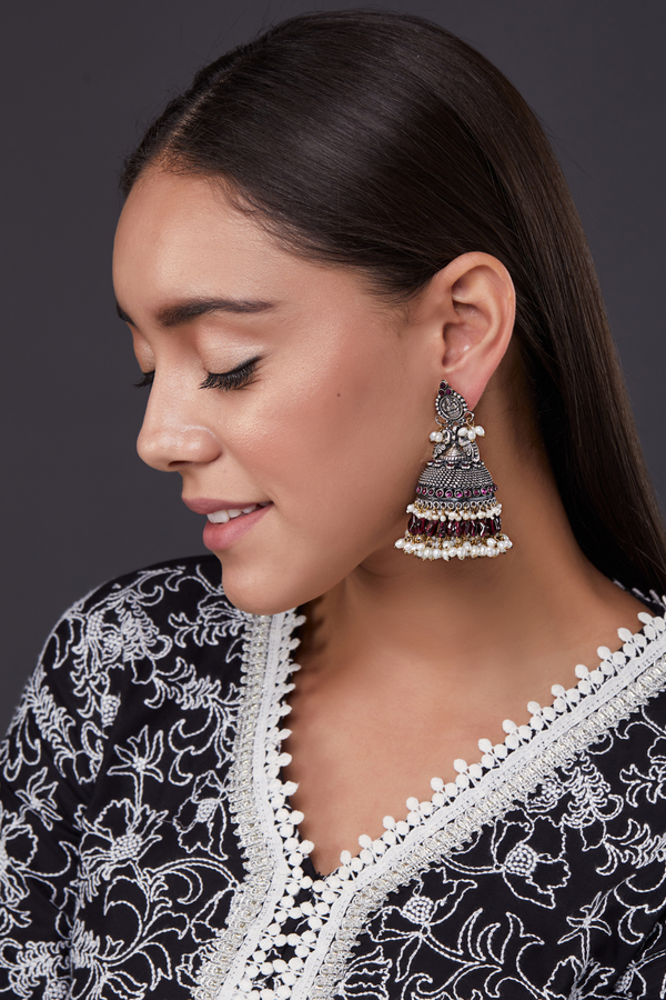 SILVER ANURADHA EARRINGS
