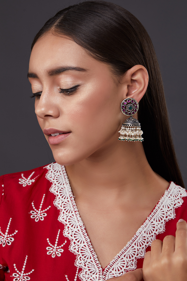 SILVER RUBANI MINI JHUMKA EARRINGS