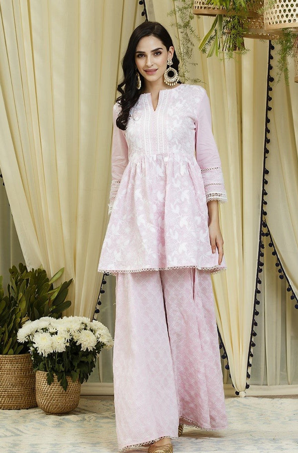 Mulmul Magnolia Pink Kurta - Full Sleeves with Embroidered Sharara