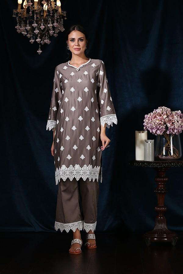 Coral Bells Kurta (Grey)