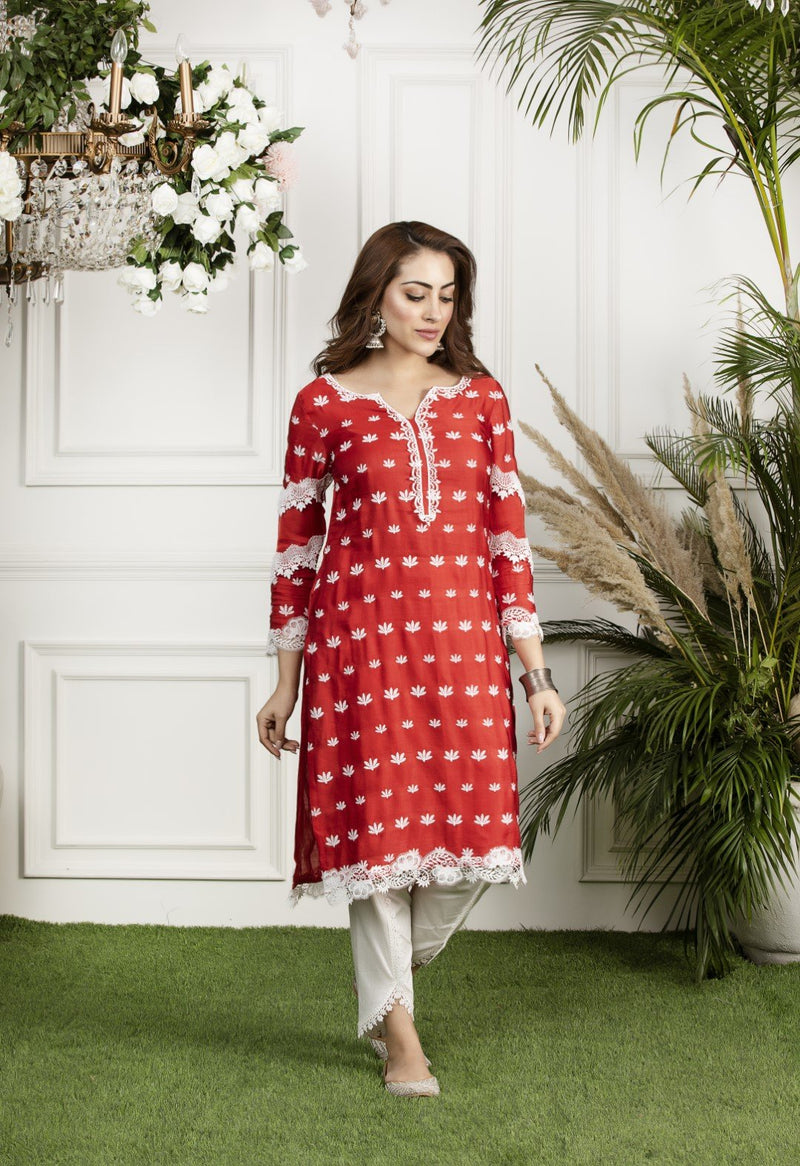 Mulmul Water Lilly Kurta with Dhoti