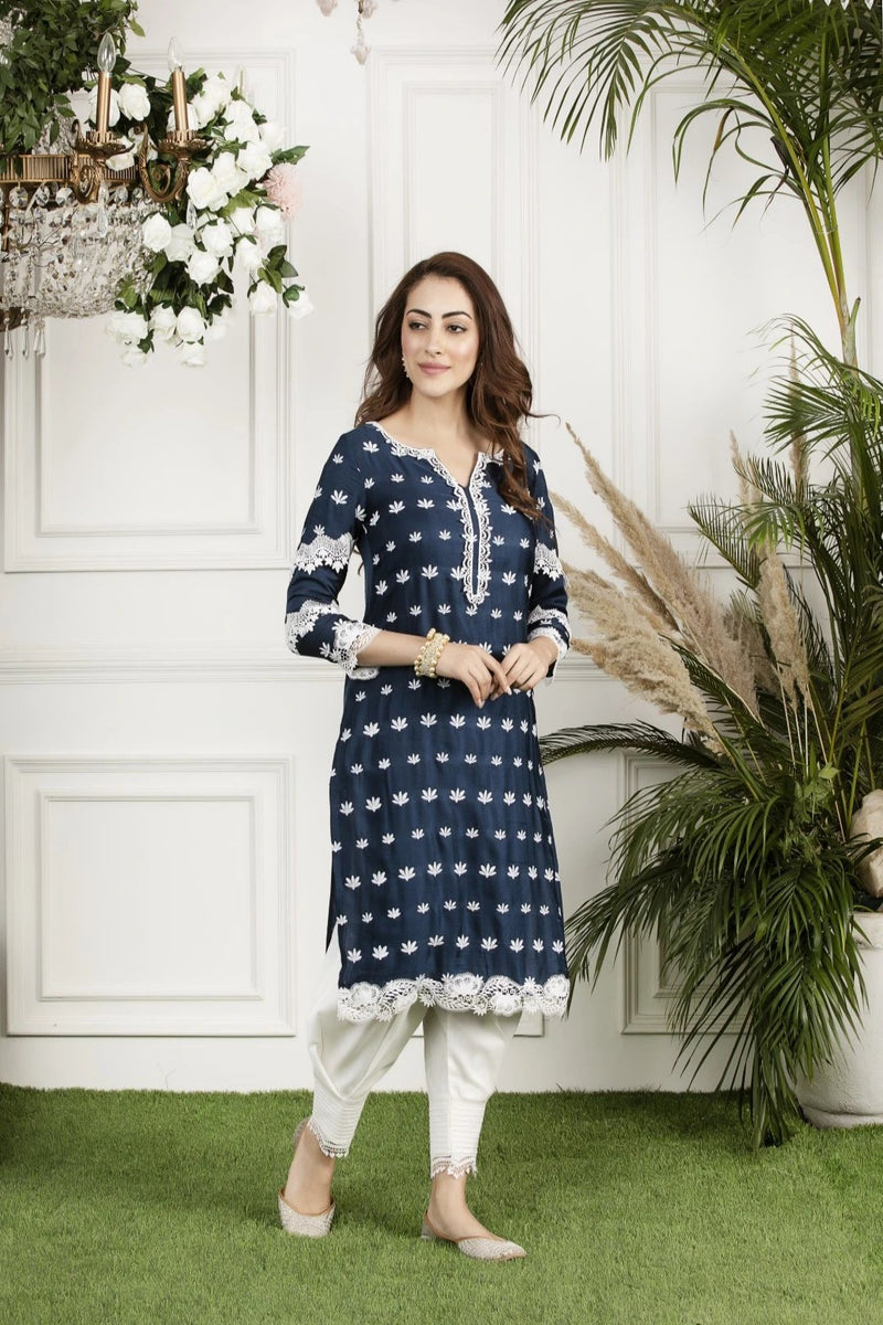 Mulmul Water Lilly Kurta with Front Pleated Pyjamas