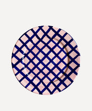 Load image into Gallery viewer, Vaisselle Sweet Me Dessert Plate Navy and Pink Gingham