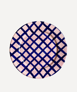Vaisselle Sweet Me Dessert Plate Navy and Pink Gingham