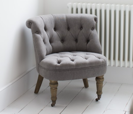 St James Soft Grey Curved Back Bedroom Chair