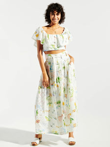Hayley Menzies Paradise Found Cotton Broderie Pleated Maxi Skirt