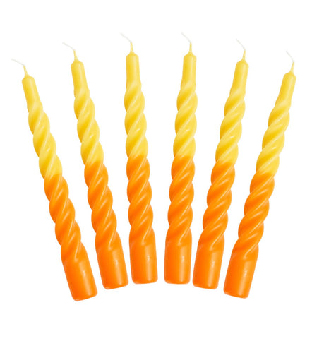 Taper Twist Candle Stick Yellow And Orange