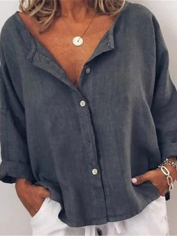 Loose Casual Solid Color Cotton And Linen Blouse