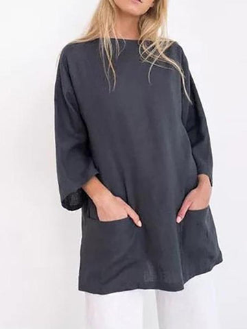 Pure Color Casual Long Sleeve Loose Long Shirt