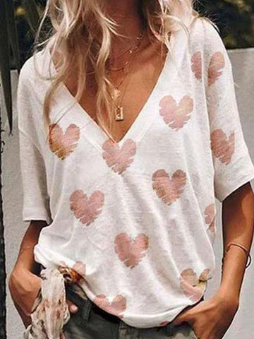 Summer V-Neck Loose Love Print Fashion T-Shirt