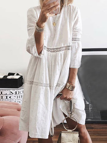 Elegant Lace Splicing Bracelet Sleeve Inwrought Casual Mini Dress