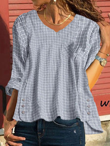 Casual Fashion Covers Irregular Plaid Blouse
