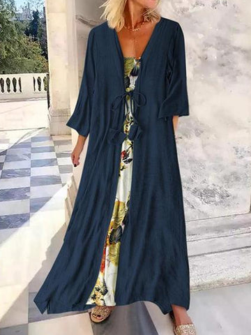 Fashion Printing Loose Dress Two-Piece Set Maxi Dresses